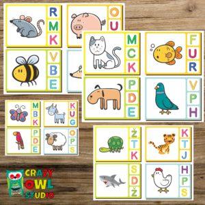 Kolíčkové kartičky se zvířátky