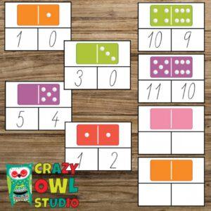 Kolíčkové kartičky s dominem – sčítání 0-12