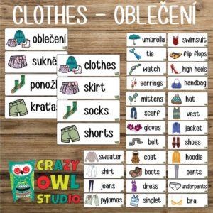 OBLEČENÍ – česká a anglická slovíčka na nástěnku